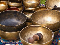 Tibetan singing bowls with batons Royalty Free Stock Images