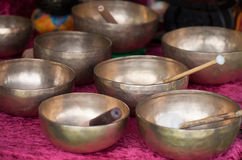 Tibetan singing bowls. Bronze Tibetan singing bowls are musical instruments for healing ceremonies royalty free stock image