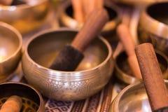 Tibetan singing bowls. Buddhism, yoga accessory royalty free stock photos