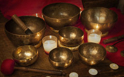 Tibetan singing bowls with candles Royalty Free Stock Image