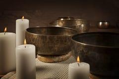 Tibetan singing bowls close-up Royalty Free Stock Images
