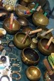 Tibetan singing bowls at a market Stock Images