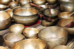Tibetan singing bowls at a market Royalty Free Stock Photography