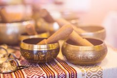 Tibetan singing bowls stock image