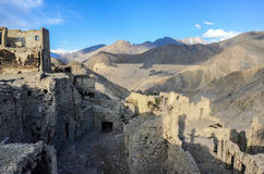These Tibetan slums. Amazing architecture of the Buddhist monasteries in Tibet mountain Royalty Free Stock Images