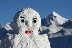 Tibetan snowman. Snowman at a high pass in Eastern Tibet Stock Images