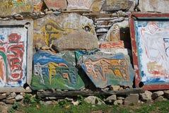 Tibetan steen Mani Royalty-vrije Stock Foto