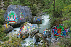 Tibetan stream. The buddha statue and buddhist scriptures are painted on rocks in ravine stream in Yading,Sichuan,China royalty free stock photos