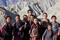 Tibetan students. SALDANG - SEPTEMBER 06: Tibetan students from the village of refugees poses for the photo during the Dho Tarap Full Moon Festival on September Royalty Free Stock Images