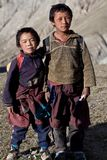 Tibetan students. SALDANG - SEPTEMBER 06: Two Tibetan students from the village of refugees poses for the photo during the Dho Tarap Full Moon Festival on Stock Images