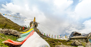 Tibetan Stupa in the mountains Royalty Free Stock Photo
