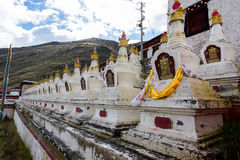 Tibetan stupa. Rows of Tibetan temple pagoda Royalty Free Stock Images