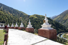 Tibetan stupa. Rows of Tibetan temple pagoda Stock Photo