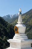 Tibetan stupa. Standing in the snow-capped mountains Tibetan stupa Stock Image