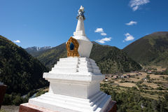 Tibetan stupa. Standing in the snow-capped mountains Tibetan stupa Royalty Free Stock Photos