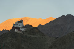 Tibetan stupa on top of mountain. This is Tibetan stupa on top of hill in center of Leh, India Stock Photo