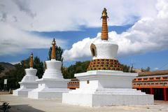 Tibetan stupas. Buddhistic stupas located in one of the most famous tibetan monasteries in China, Tongren Stock Photography