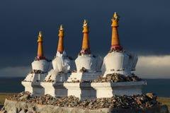 Tibetan stupas on Qinghai Lake in 2015 Royalty Free Stock Photos