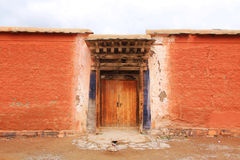 Tibetan style door. And wall in gannan. China royalty free stock photo