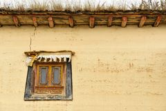 Tibetan style window and building at Songzanlin Monastery. In Zhongdian cityShangri-La, Yunnan, China Royalty Free Stock Photography