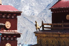 Tibetan temple. Gloden sculpture on Tibetan temple roof Stock Photo