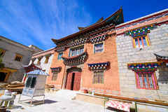 Tibetan Temple, brick wall structure in Shangri-la town, China, royalty free stock photo