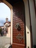 Tibetan Temple door. Detail of a Tibetan Temple door with iron ornaments Stock Photos