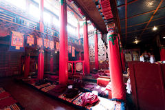 Tibetan temple hall. The sacred quiet Hall of Tibetan temples Royalty Free Stock Image
