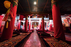 Tibetan temple hall. The sacred quiet Hall of Tibetan temples Stock Image