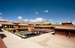 Tibetan temple, Lhasa. Jokhang Temple roof in Lhasa, Tibet Stock Images