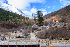 Tibetan temple is located in the rain forest mountain. Snow Stock Photography