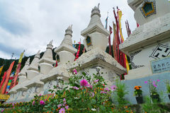 Tibetan Temple  Pagoda in Huanglong. Tibetan Temple in Huanglong was built at 4,300 meters above sea level Stock Photos