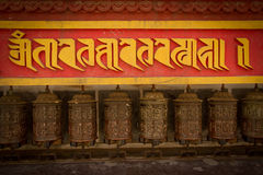 Tibetan temple prayer wheels of Kathmandu, Nepal Stock Photos