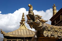 Tibetan temple roof. Dazhaosi, a very famous Tibetan temple in Lhasa, this is a shot of its roof Stock Photo