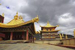 Tibetan Temple, Shangri-La. Shangri-La is a fictional place described in the 1933 novel Lost Horizon by British author James Hilton. In the book, Shangri-La is a Royalty Free Stock Photo