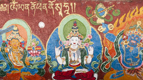 Tibetan Thangka. Painted on the temple wall Stock Photos