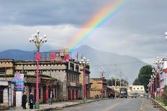 Tibetan town and rainbow Royalty Free Stock Image
