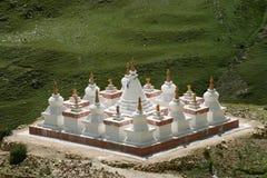Tibetan traditional constructions Stupas. Tibetan traditional constructions Stupas at the cave monastery Druk Yerpa near Lhasa Stock Photography