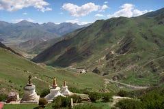 Tibetan traditional constructions Stupas. Royalty Free Stock Photography