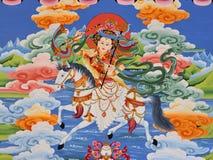 tibetan vägg- shangri för la arkivbild