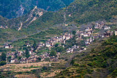 Tibetan village. The Tibetan village built on the hillside on the steep,forming a beautiful landscape Stock Images