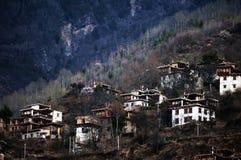 Tibetan village in dawn light Royalty Free Stock Photos