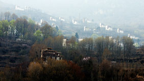Tibetan village in dawn light Stock Images