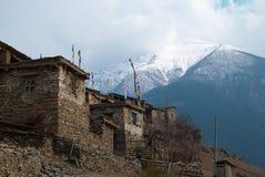 Tibetan village in Himalayan mountain. Stock Photo