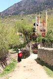 Tibetan village country lifestyle landscape Stock Images