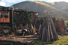 Tibetan village. In the morning ,There are many around the timber Stock Photos