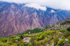 Tibetan Village On The Hillside Stock Photo