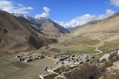 Tibetan village. Tibetan settlement in the valley Stock Photography