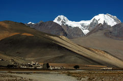 The tibetan village and snow mountains Royalty Free Stock Photos