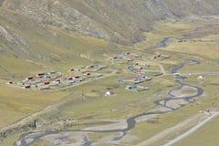 Tibetan village in the valley! Stock Image